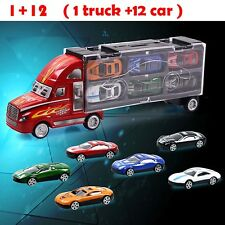 Hauler Truck Car Carrying Case and 12 Racing Alloy Cars Set  Models for Kid Gift