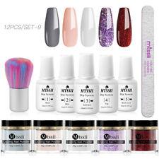 12x MTSSII Dipping Nail Powder Glitter Dip Liquid Brush File Purple Starter Kit