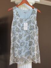 1156c8b01ead5 ELENA BALDI Made in ITALY Blue Multi Floral Silk Lined Sleeveless Top Size  M NWT