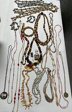 25+ Antique Vintage Estate Costume Jewelry Faux Pearl Necklaces Boho Craft Lot!