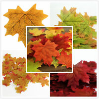 100pcs Autumn Maple Leaf Fall Fake Silk Leaves Wedding Party Christmas Art Decor