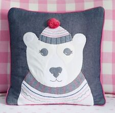 "New Pottery Barn Kids Embroidered 16"" Polar Bear Pillow Cotton Pom-Pom Applique"