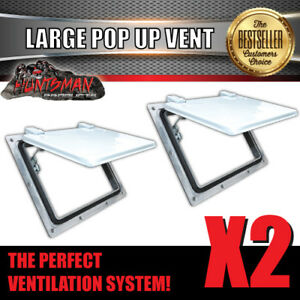 x2 Large white pop up ROOF AIR VENT. Trailer Canopy Caravan Horse float Truck