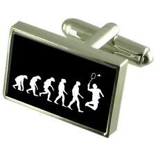 Evolution Ape To Man Badminton Sport Cufflinks Engraved Message Box