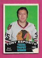 1970-71 OPC  # 250 HAWKS TONY ESPOSITO VEZINA TROPHY WINNER FAIR (INV# C4181)