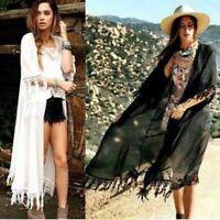 UK Women Chiffon Lace Kimono Open Cardigan Tassels Jacket Blouse Top