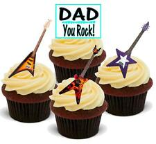 NOVELTY FATHERS DAY DAD YOU ROCK GUITAR MIX 12 STAND UP Edible Cake Toppers Dad