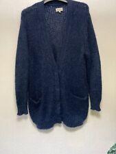 Jack Wills Long Line Blue Mohair Cardigan Jumper Uk Size 10 New