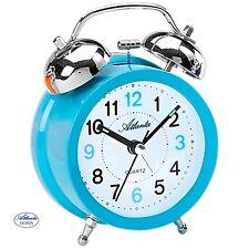Atlanta 1743/5 despertador cuarzo Reloj DE Campana Doble Azul claro