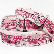 """GROSGRAIN RIBBON 1"""" POODLES IN PARIS DOGS USA SELLER (COMBINE SHIPPING)"""