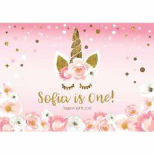 7x5FT New Photographic Background Girl Flower Pink Birthday Unicorn Bbackdrop