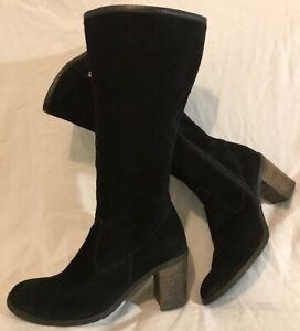 Badura Black Mid Calf Suede Boots Size 37 (81Q)