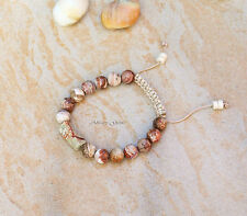 Crazy lace agate gemstone beaded adjustable bracelet, handmade new