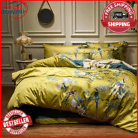 Silky Egyptian cotton Yellow Chinoiserie style Birds Flowers Duvet Cover Bed she