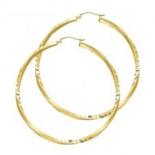 "1 3/4"" Polished Diamond Cut Twisted Hoop Hinged Solid 14k Yellow Gold Earrings"