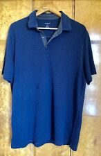 VAN HEUSEN BLUE POLO SHIRT WITH GREY TRIM. SIZE XL. RAYON/POLYESTER MIX