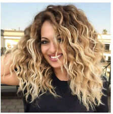 Women Blonde Short Curly Wig Synthetic Curly Wavy Hair Heat Resistant Medium Wig