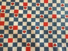 """1998 DAISY KINGDOM """"HEARTS & WHISKERS"""" FABRIC BTY BLUE AND RED CHECK OOP"""