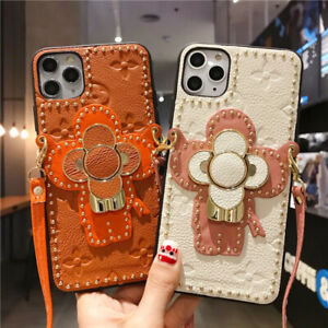 Leather Floral Flower Cover Case Trunk Strap for i phone 7 8 plus 11 pro X S Max