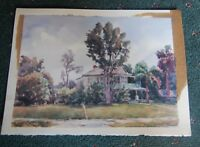 Original Watercolor Large House in Florida marked F. Strothmann '82