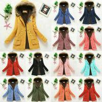 Women Winter Warm Hooded Coat Windproof Faux Fur Jacket Trench Outwear
