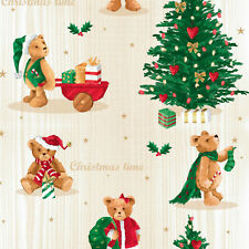 Wachstuch Tischdecke Meterware Weihnachten Teddy C141531 eckig rund oval