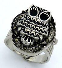 Neu Ring Uhr zum klappen versilbert  Eule Fingeruhr  Ringuhr schwarz Markasit