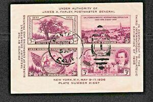 USA 1936 S/S Sc#778, NEW YORK Third International PHILATELIC EXHIBITION. USED