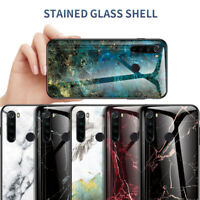 For Xiaomi Redmi Note 8 Pro Marble Tempered Glass Hybrid Hard Back Case Cover