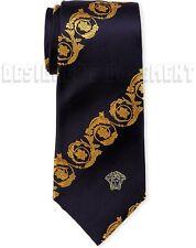 VERSACE midnight Blue gold Scroll MEDUSA head silk Twill MENS tie NWT Authentic!