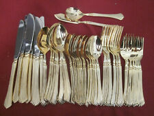 50 Piece Set of unmarked Gold Tone Stainless Beautiful Flatware Korea
