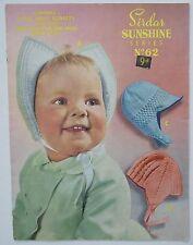 SIRDAR SUNSHINE SERIES No. 62 Original 1950s Vintage Knitting Pattern Baby Hats
