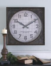 Retro Industrial Metal Wall Clock | Riveted Cage Grille Square Large
