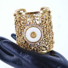 Kary O Luxurious Women's Kasmiri Golden Cuff Bangle White Round Stone BCF59