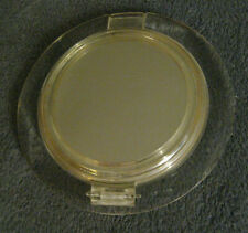 Art Deco Vintage Lucite Compact Powder Mirror - Beveled Clear Frame Puff Hinged