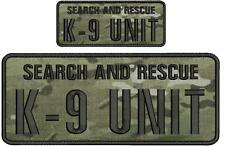 Search and Rescue K9 UNIT embroidery patches 4x10 and 2x5  hook black letters