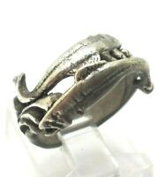 Vintage 3D Fish Wrap Band Sterling Silver 925 Ring 6g Sz.5.75 FOX885
