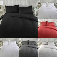 Luxury Plain Dyed Duvet Quilt Cover Bedding Double Bed Set With Pillowcases
