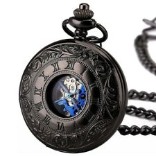 Vintage Black Steel Mechanical Pocket Watch Hand winding Pendant FOB Chain Gifts