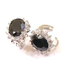 Black Champagne Simulated Diamonds White Gold Plated Women Hoop Huggie Earring