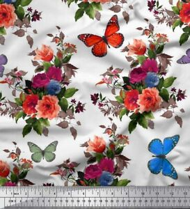 Soimoi Fabric Leaves,Insect & Floral Printed Craft Fabric by the Yard - FL-2041I