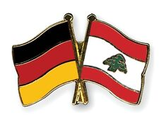Germany & Lebanon Friendship Flags Gold Plated Enamel Lapel Pin Badge