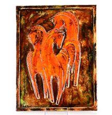 Vintage Ruscha Art Tile of Horses (3D in Relief) - # 959
