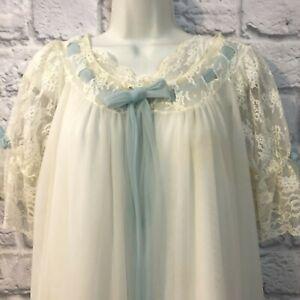 Vtg Miss Elaine Double Chiffon Peignoir Set Sheer Ivory Lace Nightgown MEDIUM