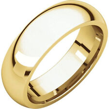 6mm 18K Solid Yellow Gold Plain Dome Half Round Comfort Fit Wedding Band Ring