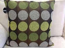 A set of 4 Revolution green & chocolate spot cushion covers. 55 x 55cm. New