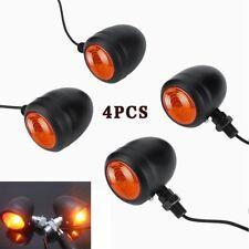 4*Motorcycle Black Metal Bullet Turn Signal Indicator Amber Light Universal O