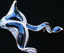 "GOLD SILVER RHINESTONE OCEAN SEA LIFE MANTA EAGLE RAY STINGRAY PIN BROOCH 2 1/4"""