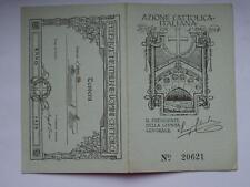 TRIESTE CAPODISTRIA 1926 tessera AZIONE CATTOLICA ITALIANA uomini