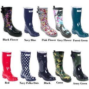 Women's Rubber Rain Boots - Mid-Calf 11' Waterproof Wellies * Solid Multi Colors